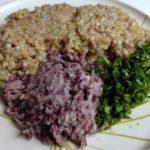 Foto con le Proporzioni degli ingredienti per gli hamburger vegan