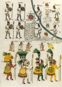 Codex Mendoza, raffigurazione di guerrieri aztechi, XVI sec.