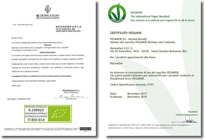 Certificazione Bio e VeganOk di NaturaZen