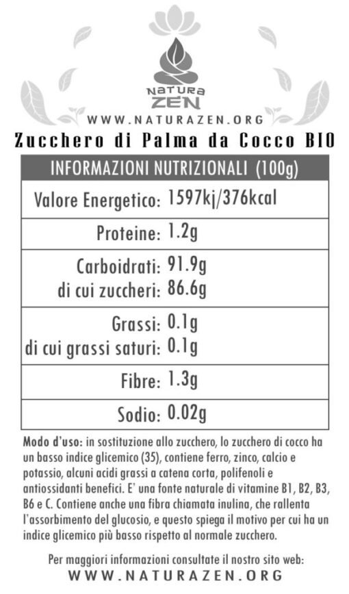 Cocoa Palm Sugar Nutritional Info EverTrust 510x868
