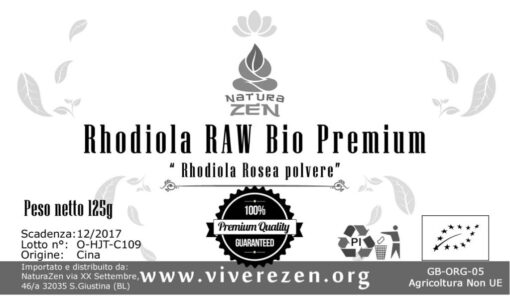 Rhodiola Rosea Powder 125g Label 510x300