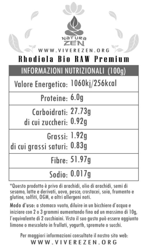 Rhodiola Rosea Powder Nutritional Info EverTrust 510x868
