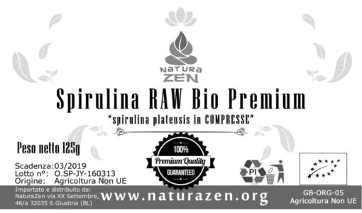foto etichetta standard spirulina compresse naturazen Raw biologiche