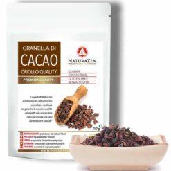 foto della busta da 250 grammi di cacao in granella naturazen