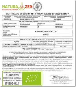 documento di certificazione biologica naturazen