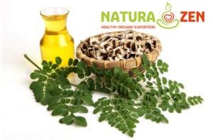 Foto della moringa oleifera foglie fiori semi e l'olio ottenuto dalla spremitura